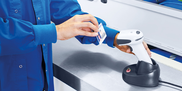 Barcode-supported access control with HänelSoft® in hospitals.