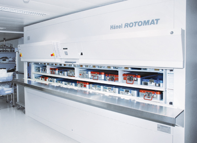 Protected storage of surgical instruments in the Hänel Rotomat®.